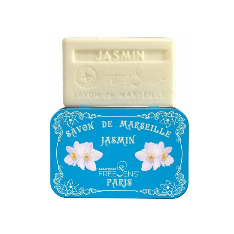 Savon de Marseille Jasmin en pain de 100 g boîte métal
